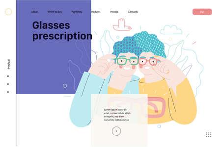 Opticians shop - medical insurance web template. Flat vector