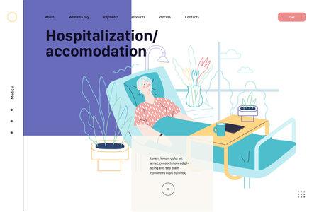 Hospitalization and accomodation - medical insurance web template Ilustracja