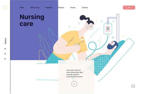 Nursing care - medical insurance illustration. Modern flat vector Ilustracja