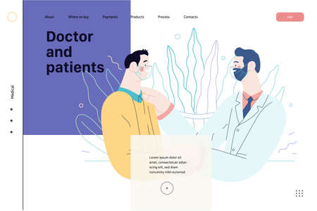 Doctor and patients - medical insurance web tamplate. Flat vector