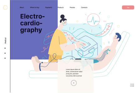 ECG electrocardiography - medical tests web template. Flat vector Ilustracja