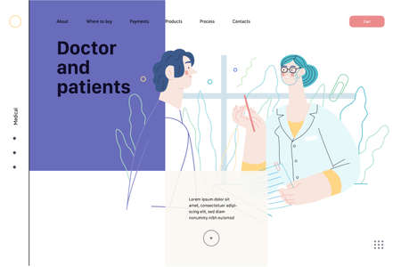 Doctor and patients - medical insurance web template Ilustracja