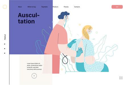 Auscultation - medical insurance web template. Modern flat vector