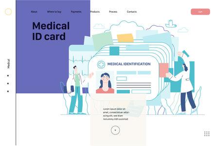 Medical id card, health card - medical insurance web template
