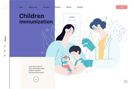 Childhood immunization - medical insurance web template. Flat vector