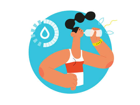 Runner - hydration, a young woman drinking water