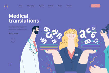 Medical translations - medical insurance web template. Modern flat vector Ilustracja