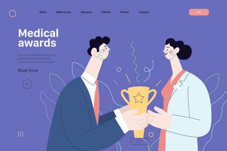 Medical awards - medical insurance web template. Modern flat vector