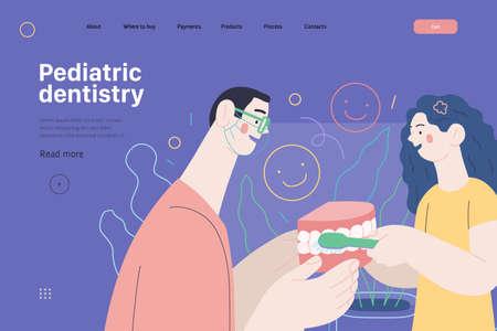 Pediatric dentistry - medical insurance web template. Modern flat vector