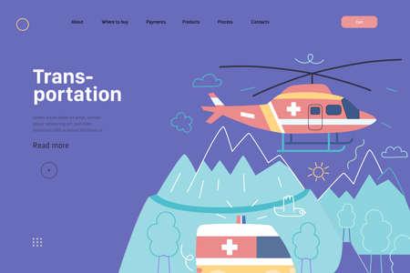 Medical transportation - medical insurance web template. Modern flat vector