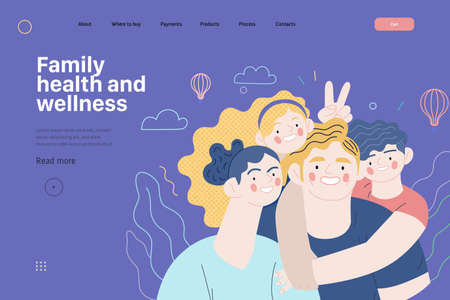 Family health and wellness - medical insurance web template Ilustracja