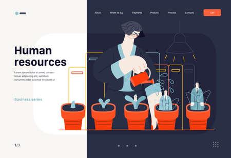 Business topics - human resources, web template. Modern flat vector
