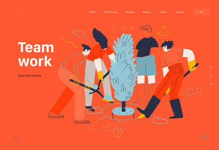 Business topics - teamwork, web template. Modern flat vector