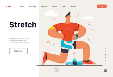 Runners - a man running and exercising outside, website template Ilustracja