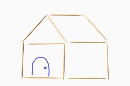 toothpick: Toothpick Home on Isolated Background Stock Photo