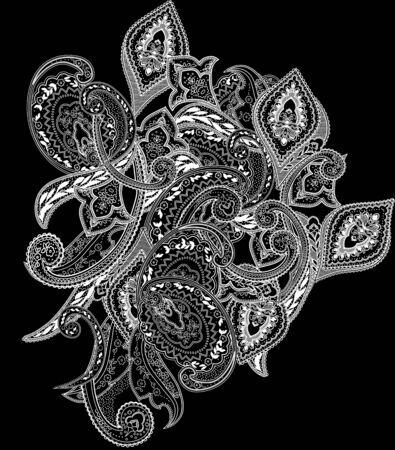 Paisley isolated pattern. Vintage illustration in batik style