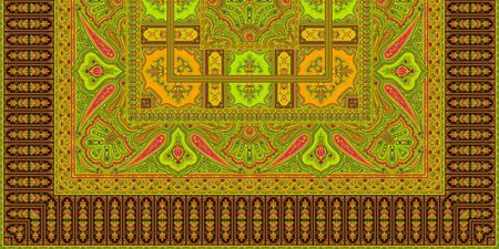 Indian Traditional paisley pattern. Brown and yellow background.