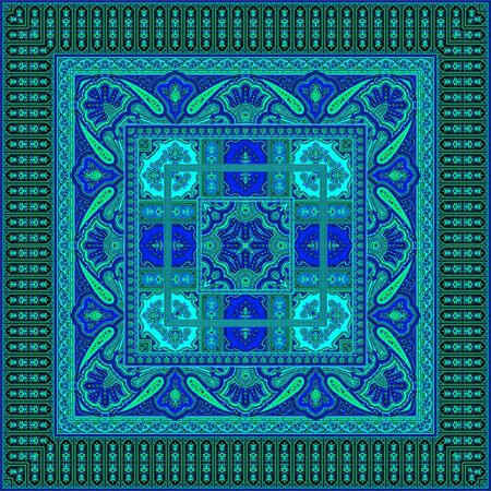 Indian Traditional paisley pattern. Blue color background.