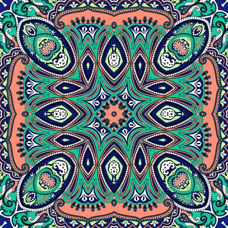 Indian Traditional paisley pattern. Multicolor bright background.