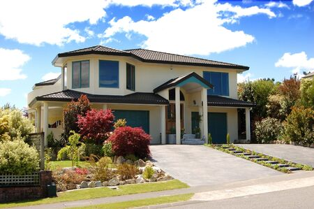 housing styles: Modern house in the suburbs Stock Photo
