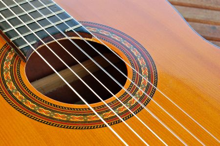 nylon string: part of guitar soundboard, showing soundhole,strings,rosette,etc.,