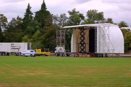 stage being erected for outdoor concert Stock Photo