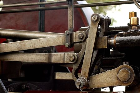 traction engine: traction engine valve gear Stock Photo
