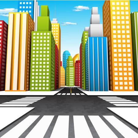 green street: Ilustraci�n vectorial de dibujos animados de la ciudad.