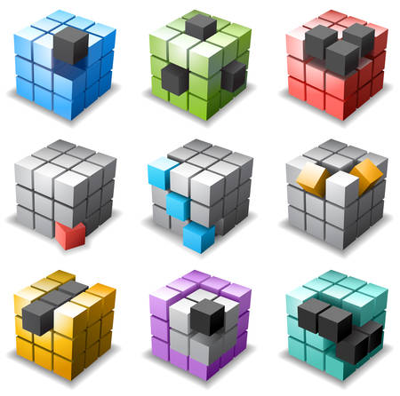 3D cubes collection. Illustration