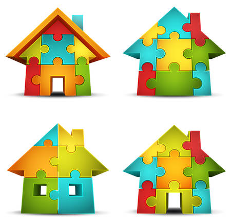Vector illustration of houses made of puzzle   Illustration