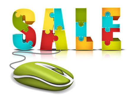 E-commerce concept with computer mouse and words made of puzzle Vector illustration  Vector