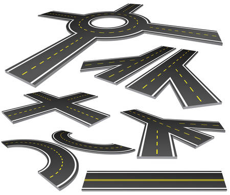 Vector illustration of different perspective roads