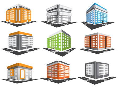 financial district: set of buildings. Illustration