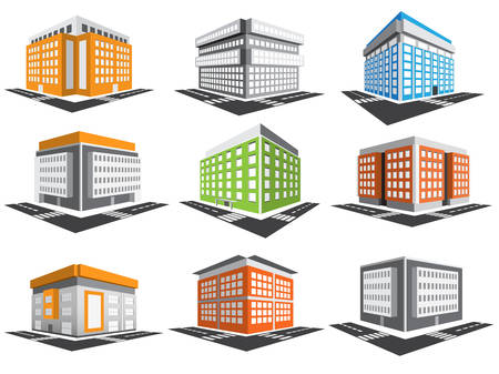 set van gebouwen. Stock Illustratie