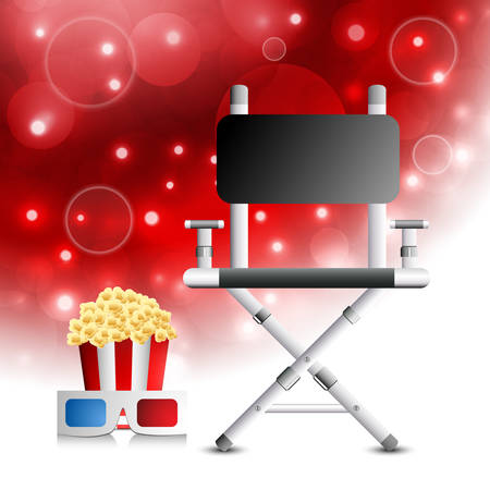 director chair: illustration of directors chair, pop corn and 3d glasses.