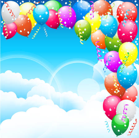 Balloons and sky  Vector illustration