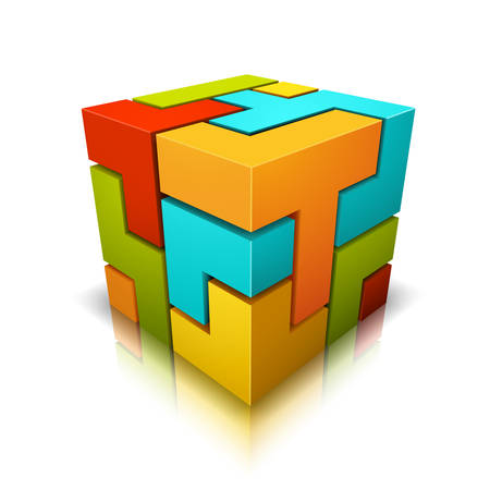 Cube made of different shapes. Illustration
