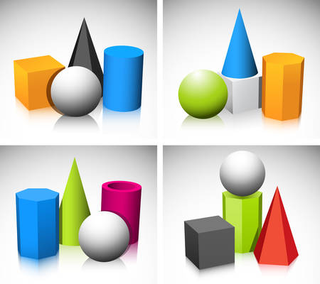 Illustration of basic three dimensional shapes. Vector