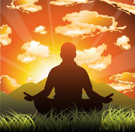 meditates: Man meditates on beautiful mountain dusk. illustration.