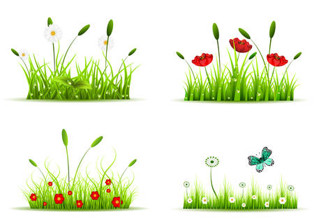 Vector collection of four different sets with grass and flowers.