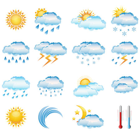 Vector set of weather icons. Vector