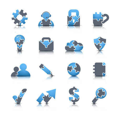 Vector set of business icons made of puzzle. Vector