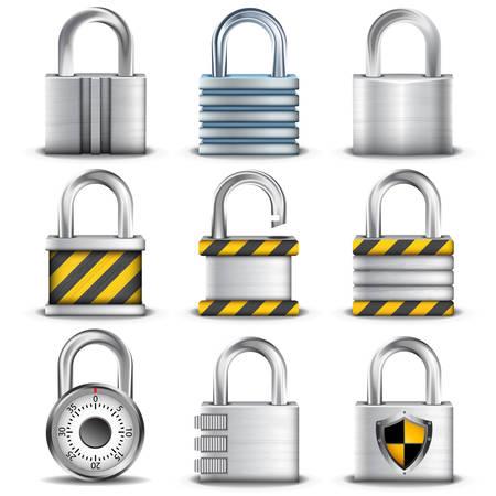 set of different padlocks.