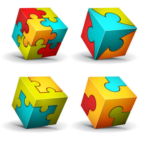 puzzle shadow: illustration of cubes made of puzzle