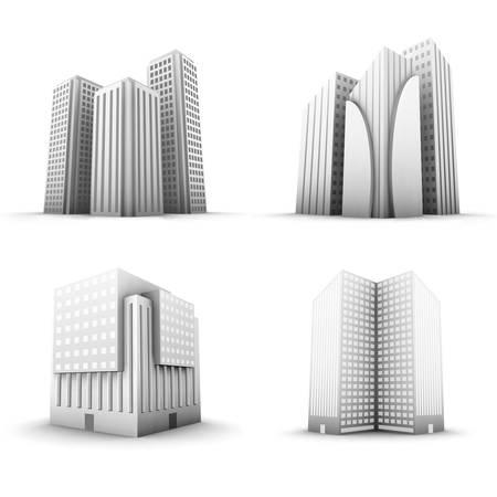office building: set of buildings. Illustration