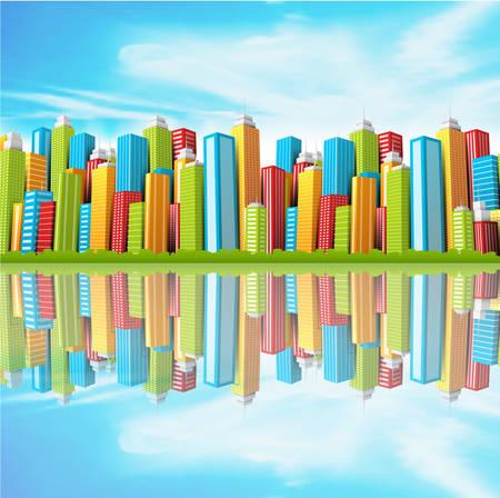 financial district: illustration of cartoon city.  Illustration