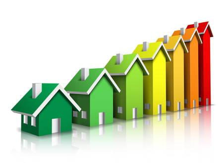 eficiencia energetica: ilustraci�n de calificaci�n de eficiencia energ�tica. Vectores