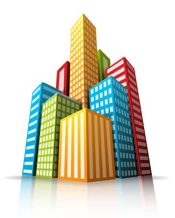 illustration of cartoon city.  Ilustração
