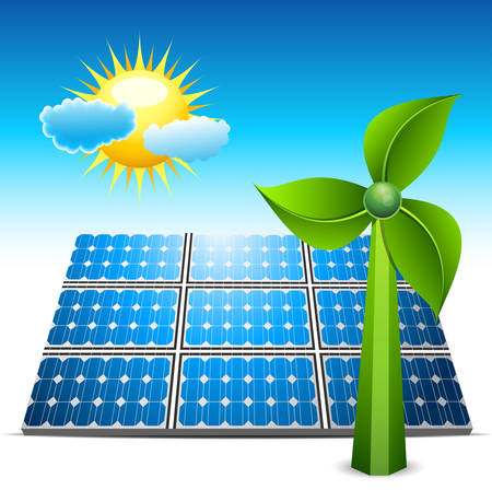 Environmental concept with solar panel and windmill. illustration. Vector