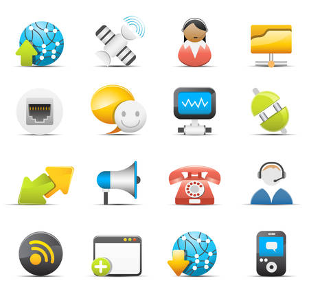 switchboard operator: set of communication icons.